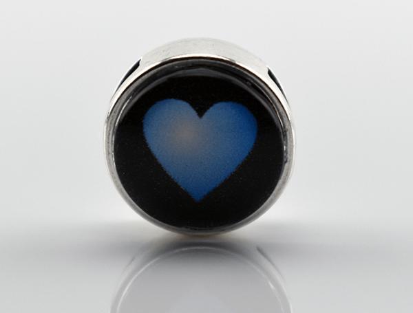 Schiebeperle mit Herz, blau