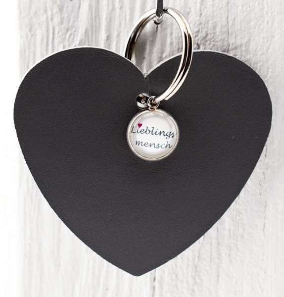 Schlüsselanhänger Herz mit Lieblingsmenschanhänger, grau
