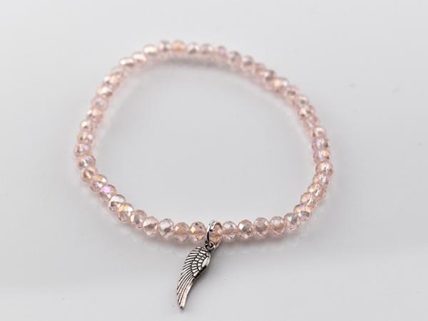 Kunstoffarmband mit Flügel, rosa