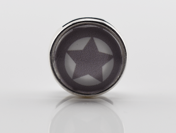 Schiebeperle Stern mit Rand, grau