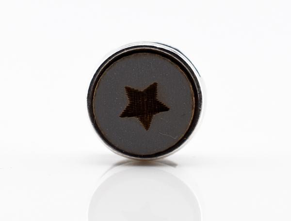 Holzschiebeperle kleiner Stern, grau